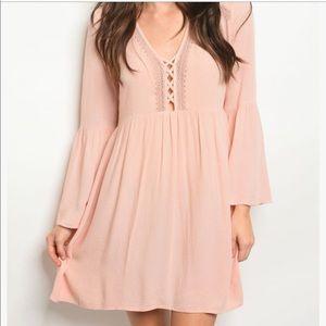 Dresses & Skirts - Sheer Pink Ruffle Sleeve Dress